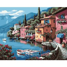 NEW Handpainted 1Set DIY Digital Oil Painting By Numbers Lakeside Villa Pictures Frameless Canvas Home Wall Decoration 40x50cm(China (Mainland))
