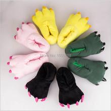 Il trasporto libero 2014 buffo animale zampa pantofole carino mostro claw pantofole cartoon slipper caldo morbido peluche di inverno scarpe indoor(China (Mainland))