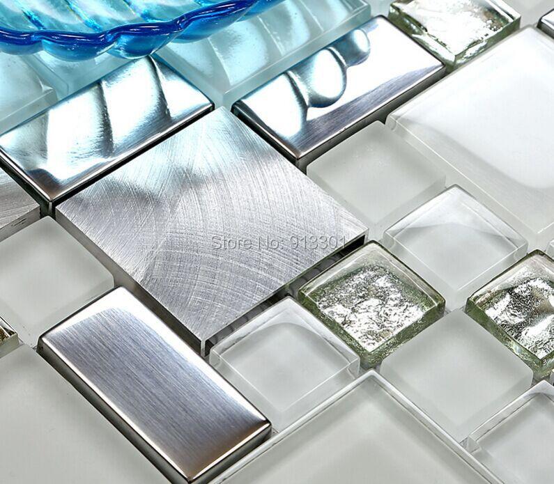 piastrelle in vetro e acciaio cucina : Fogli di piastrelle di vetro metallo in acciaio inox mattonelle della ...