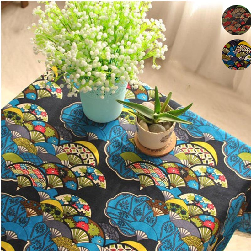 Bohemian ethnic Cotton Linen table cloth Classic Vintage Fan Floral Tablecloth restaurant  dining table cover decoration mantel
