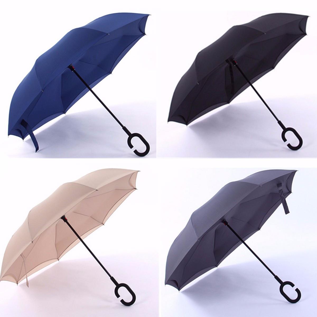 C Shape Handle Reverse Inverted Umbrella Double Layer Inside Out Umbrella Rain Sun Proof Parasol Bumbershoot Rain Gear(China (Mainland))