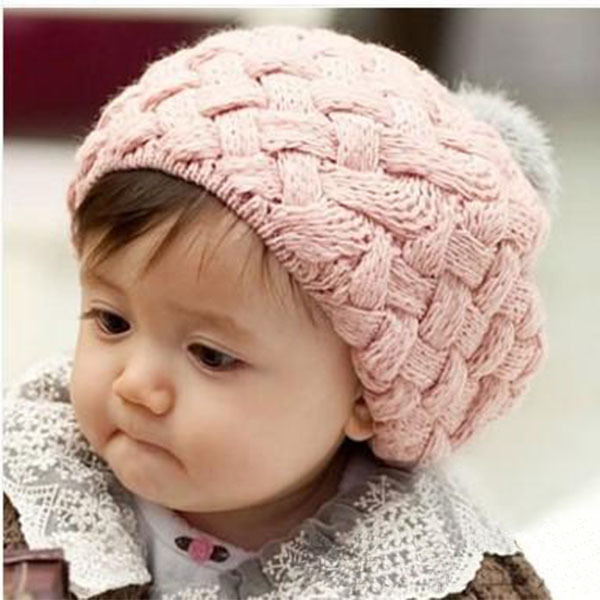 Kids Baby Children Crochet Knitting Beret Cap Cute Beanie Winter Hat 4 Colors XL145 Free Shipping