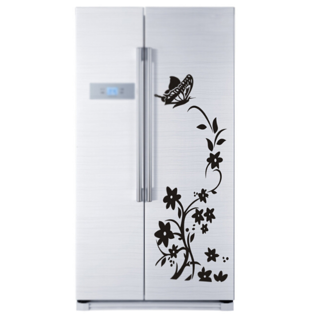 IMC Wholesale Free delivery / quality / refrigerator refrigerator butterfly pattern wall stickers black(China (Mainland))