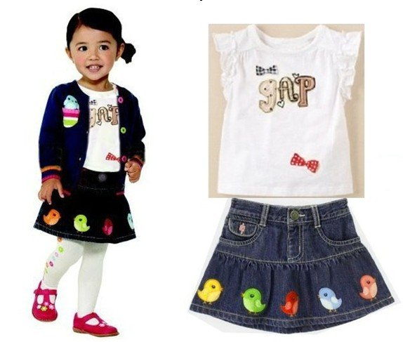 Hot sale! ! 2012 New Baby Girls T-shirt + denim Chick skirt suit two-piece children top+ set 5set/lot