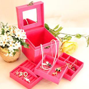 FG91 Princess European-style velvet jewelry box ring box cosmetic box wooden jewelry storage cassette lock Korea(China (Mainland))