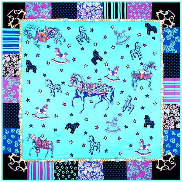 130 см * 130 см 100% шелк евро фирменный стиль женщины флуоресценции милая игрушка лошадь прекрасный звезда контрастного цвета шелковая мода шарф