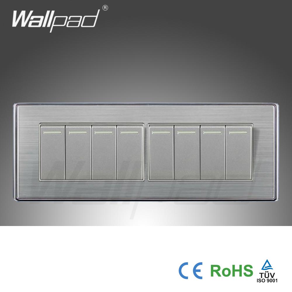 2015 Hot Sale China Manufacturer Wallpad Luxury Wall light Switch Satin Metal Panel Push Button ...