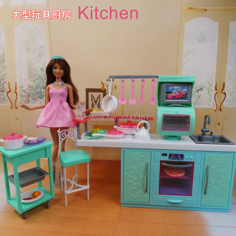 Diy Plastic Dollhouse Play Doll House Kitchen Furniture Set For Barbies 1 6 Doll Pretend Play