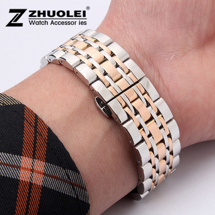 Watch band 22mm New High quality Silver With Rose gold Stainless Steel Deployment Watchbands Strap Bracelets For AR0389<br><br>Aliexpress