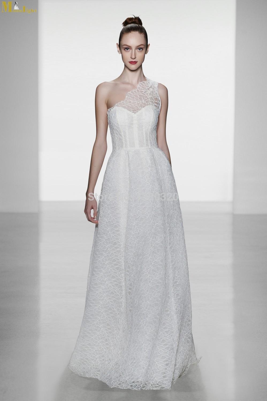 Wedding dresses mon 256 elegant one shoulder sleeveless for Lace mid length wedding dresses
