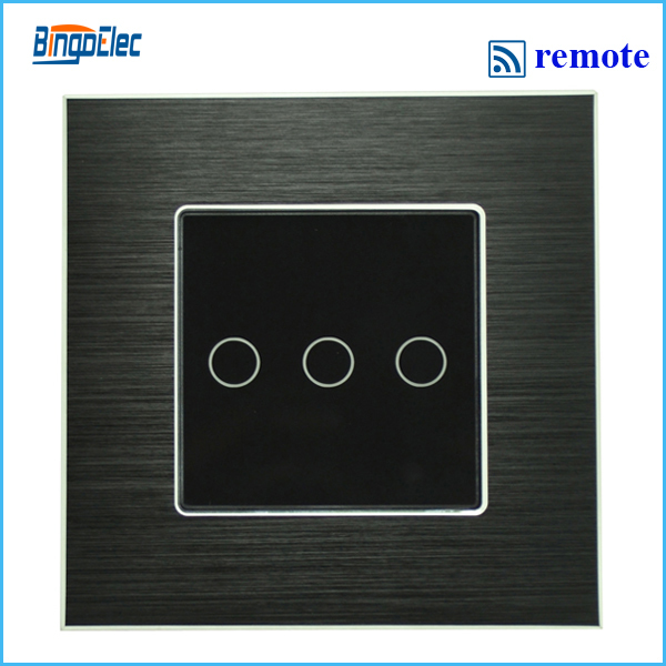 3gang remote touch switch with remote function black aluminum and glass panel switch EU UK type