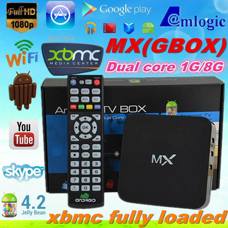 100% Original dual core MX android smart tv box with XBMC Fully loaded amlogic 8726 MX tv box | MX2 Tv box G-Box Midnight gbox(China (Mainland))