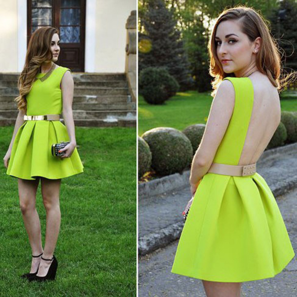 New Women Sexy Pleated Mini Dress Neon Green Color Suit For Party Free Shipping Size M(China (Mainland))
