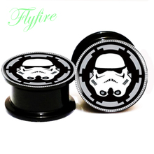 2016 Hotsale Acrylic Double Flare Screw Fit Star War Ear Plugs Tunnels Ear Expanders and Stretchers 6mm-25mm