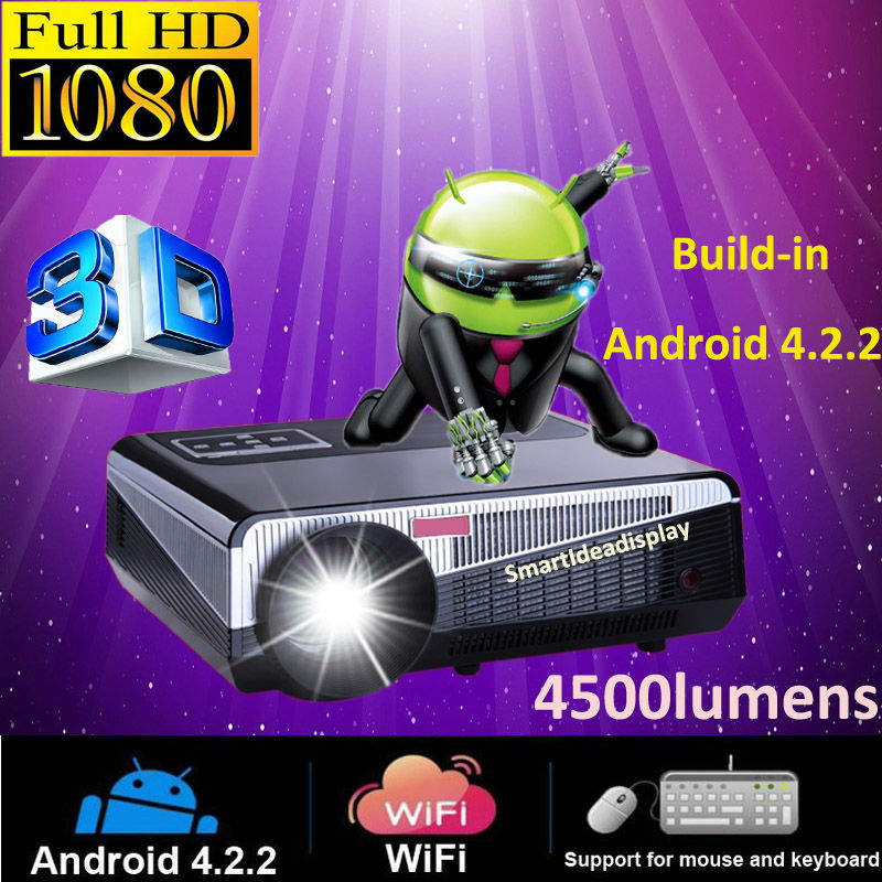 4500lumens Android 4.2.2 Full HD LED Daytime LCD 3D Wifi smart Projector with 220W LED Lamp over 50000hs life(China (Mainland))