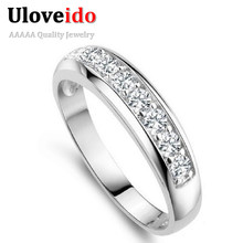 Uloveido 50% off Charms Ring for Women Wedding Band Zircon 925 Sterling Silver Rings for Women/Men Anel Wholesale Bijoux J294(China (Mainland))