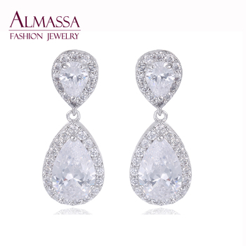 Fashion Wedding Jewelry Luxury Water Drop Shape Around Inlay Round Top Quality Cubic Zirconia Diamond Dangle Earring