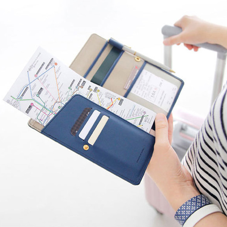 Fashion Women Men Travel Ticket Container Passport Cover Card Case Holder Multi function Faux Leather Passport