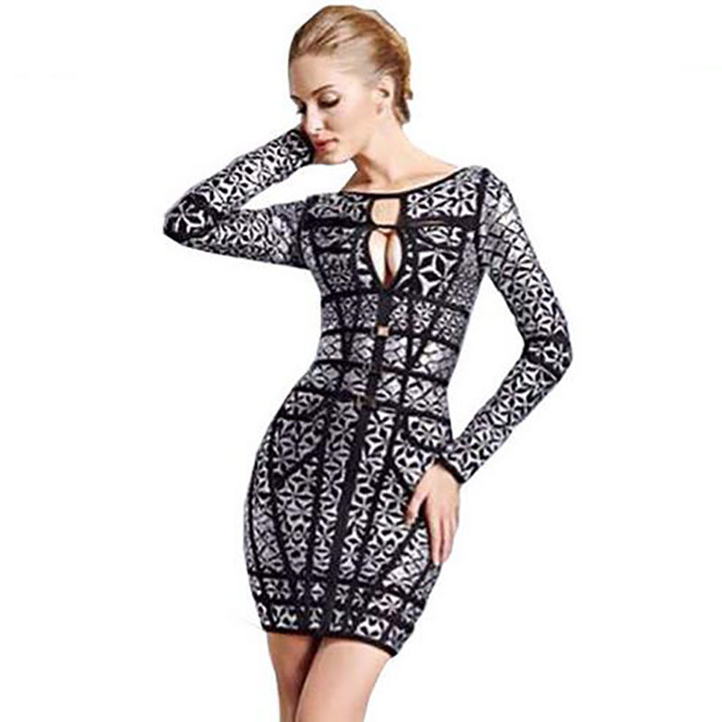 Sexy Long Sleeve Club Bandage Dresses HL 2016 New Fashion Silver Foil Women Rayon Bodycon Hip Package Hollow Out Party VestidosОдежда и ак�е��уары<br><br><br>Aliexpress