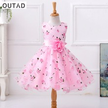 Buy OUTAD Special Design Children Floral Printed Girls Dress Summer Sleeveless Princess Dress Kid Costume Pink 6 Sizes New arrival for $14.55 in AliExpress store