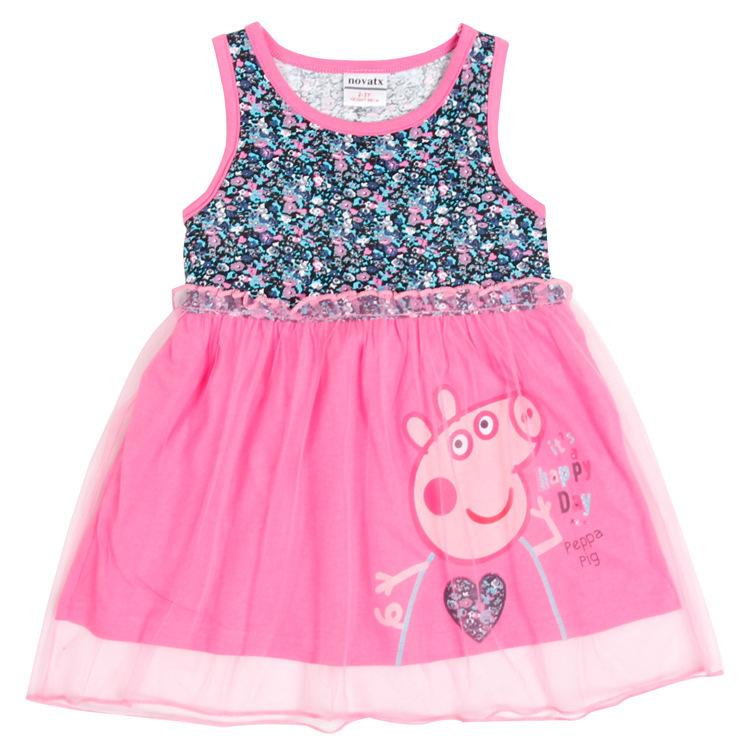 Retail top quality 2015 new fashion summer style nova brand peppa pig dress girls clothes 2~6 age baby girl dress hot sale(China (Mainland))