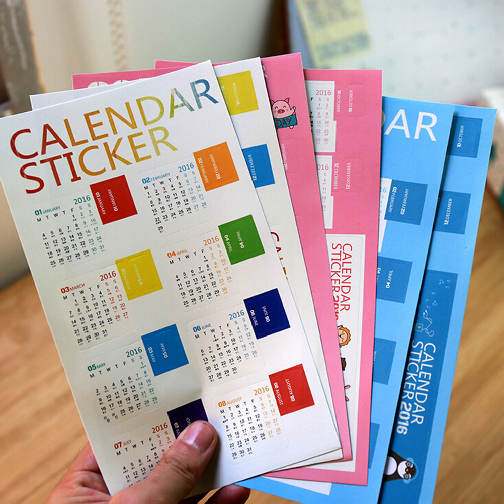 2PCS Calendar Sticker 2016 Diary Planner Notebook Journal Mini Supplement Index Tag Bookmark For Scrapbooking Cards(China (Mainland))