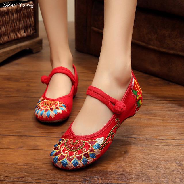 2015 осень мода женская обувь, Дамы старый квартиры с буддизм тотем вышивка мягкой ...
