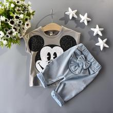 Retail 2015 minnie and mickey girls clothing sets 2pcs Short sleeve T-shirt + cowboy bowknot pants costumes for girls(China (Mainland))