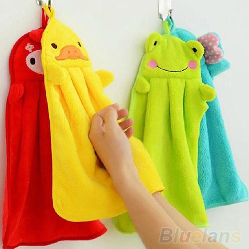 Nursery Hand Towel Soft Plush Fabric Cartoon Animal Hanging Wipe Bathing Towel 1QDU(China (Mainland))