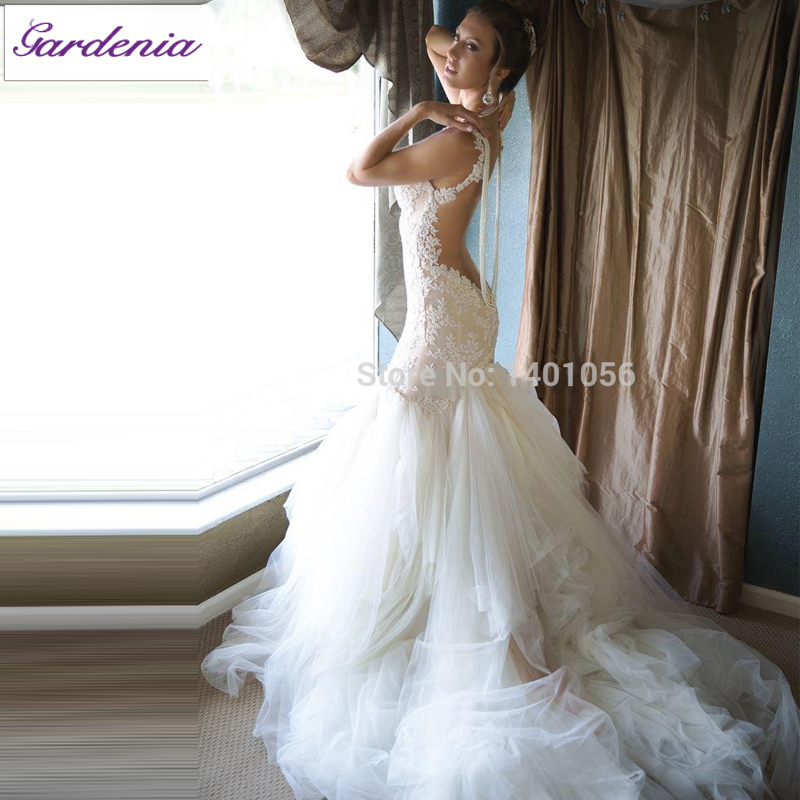 Low Back Mermaid Wedding Dress : Buy low back wedding dresses with pearls sexy real bride show dress