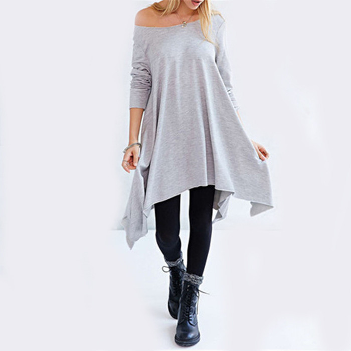 Sheinside Korean Women Style High Street Latest Dress Design Imported Clothing Grey Long Sleeve Asymmetric Loose Dress(China (Mainland))