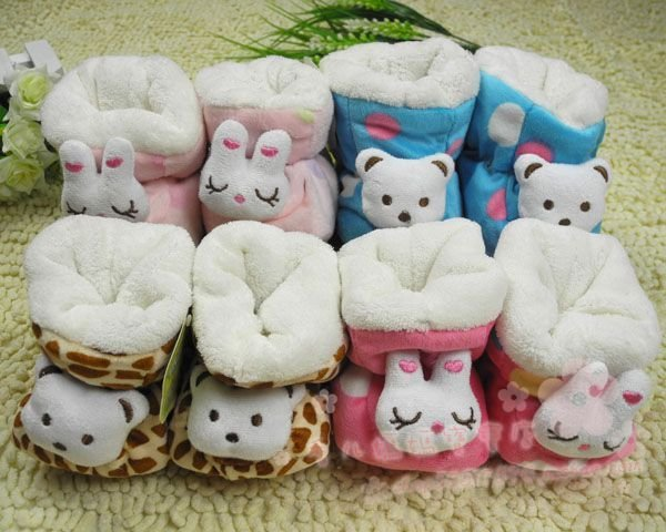 Free shipping 5pairs/lot, Soft bottom baby snow boots/baby padded boots/Christmas theme cotton boots