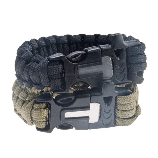 Survival Paracord Bracelet Whistle Fire Starter