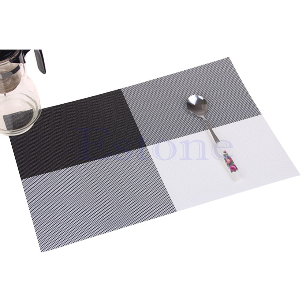 F85 Home Decor Kitchen Dining Placemat font b Chequer b font Adiabatic PVC Strip Weave Table