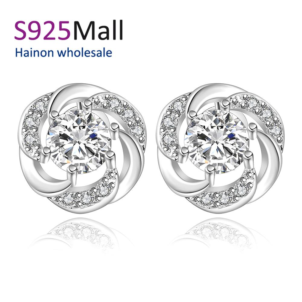 Sterling Jewelry Promotion Cubic Zirconia Women Trendy s Fine Jewelry E438 2016 New Supplies Earrings Fashion High Quality(China (Mainland))