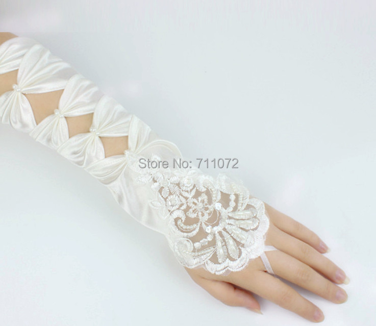 Fingerless long red bridal gloves lace beading beige for Wedding dress with long gloves