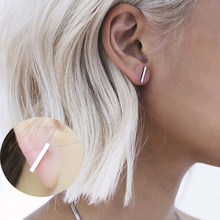 2015 Fashion Gold Silver Punk Simple T Bar Earrings For Women Ear Stud Earrings Fine Jewelry Geometry brincos bijoux 8112