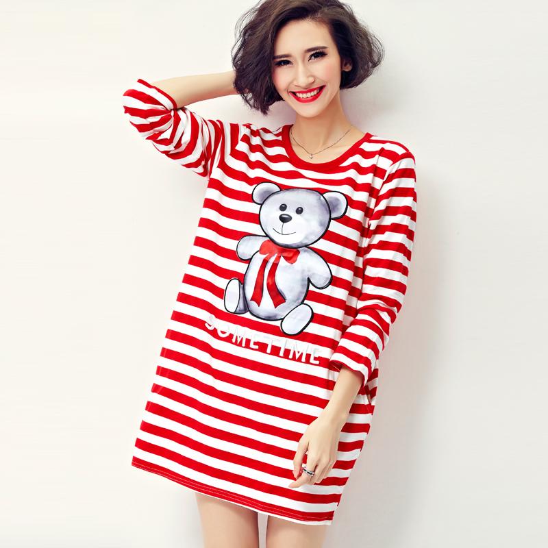 2016 New Fashion Spring Women long sleeve Striped Dress Bear Print Cute O-neck Loose Casual Mini Dresses K852(China (Mainland))