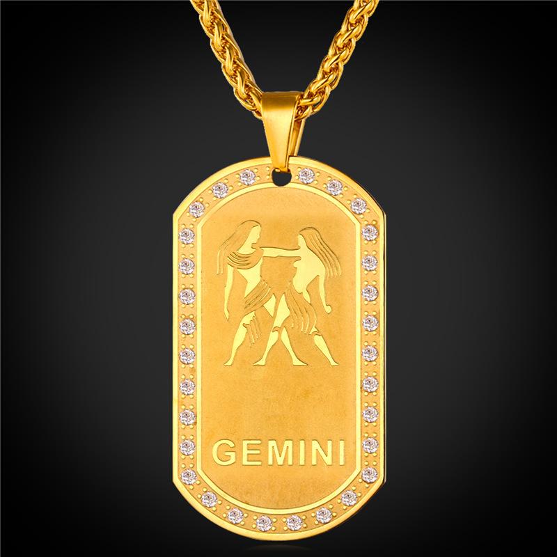 Gold Zodiac Dog Tag Pendant Necklace: 2016 Zodiac Charms GEMINI Pendant Necklace Women Jewelry