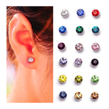 6 colors magnetic men Clips Earrings 3mm Crystal Ear Cuff earrings no pierced fake piercing ohrringe(China (Mainland))