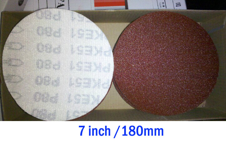 7inch / 180mm aluminum oxide coated abrasive sandpaper velcro disc for wood(China (Mainland))