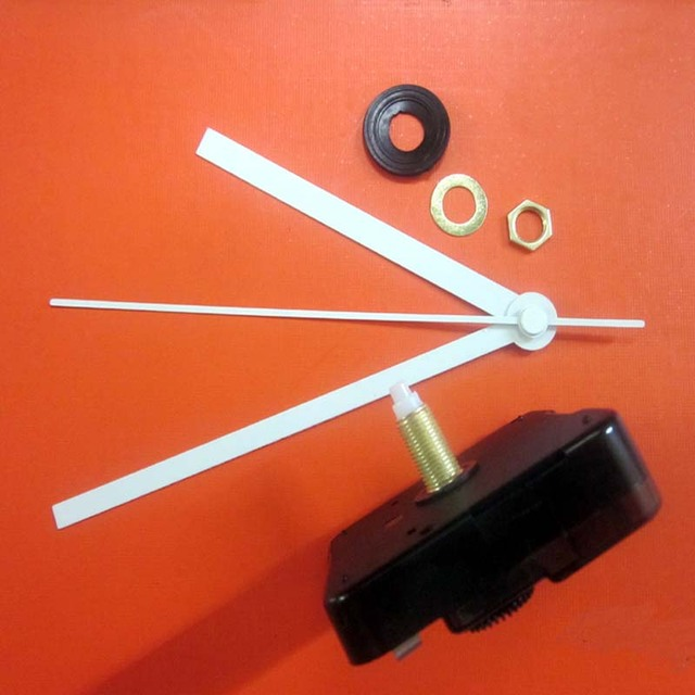 Wholesale 100PCS/lot Quartz Clock Movement Kit Spindle Mechanism shaft 16.5mm with white clock hands BJ009