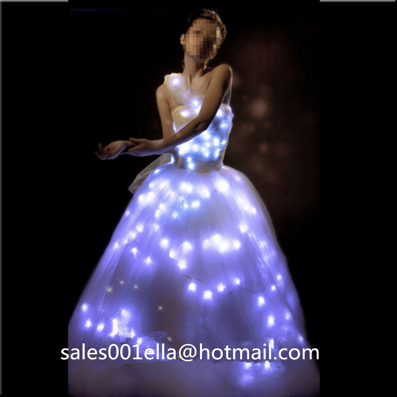 Luminous Wedding Dress LED Growing Evening Costume Stage Suit Party Dancing Wear For Club Party Bar Halloween Wedding(China (Mainland))