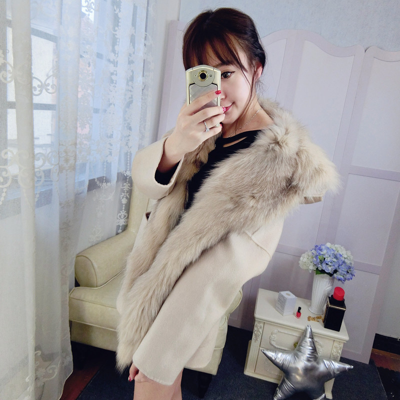 FL Brand New Wool Fleece Coats Women Autumn&Winter Medium Long Solid Hooded Jacket Female with Thick Warm Real Fox Fur Liner