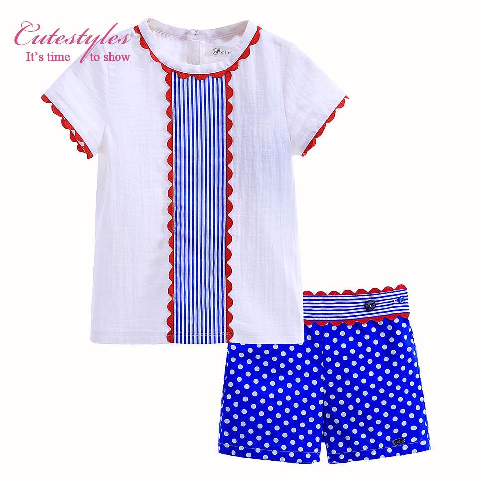 New Design Boutique Hand Made Toddler Boy Clothing Sets Casual T-Shirt and Polka Dot Printed Short Kid Clothes B-DMCS905-793(China (Mainland))