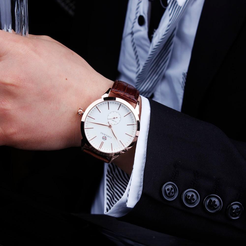 Победитель мода классические кратким точность мужская механические наручные часы кожаный ремешок суб-набор вт / Box