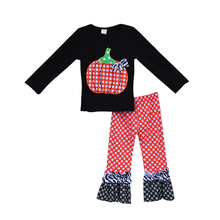 Girls Boutique Clothing Pumpkin Sticker Decor Dot Pattern Ruffle Pants Casual Loose Style Halloween Costume For Kids BHT04 CC(China (Mainland))