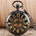 Luxury Machine Automatic Pocket Watch Fashion Cute Arabic Numerals Hollow Surface FOB Clock Men Women Gift