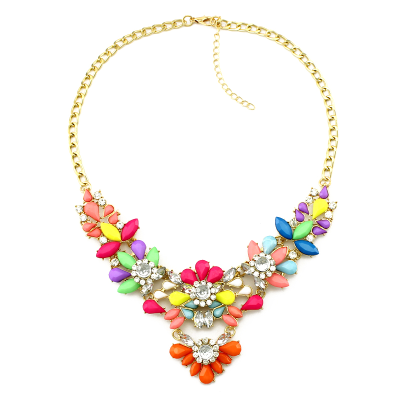 2015 new design high quality brand jewelry color acrylic collar statement necklace women fashion Necklaces & Pendants()