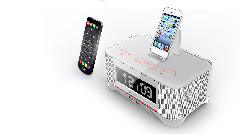A8 Touch Radio Clock Speaker Remote Control for Apple Ipod/touch/iPhone Ipad Bluetooth and NFC for iPhone/iPad/Samsung Speaker(China (Mainland))